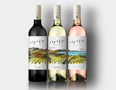 Espelt Cellars. Wine Label Illustrations.