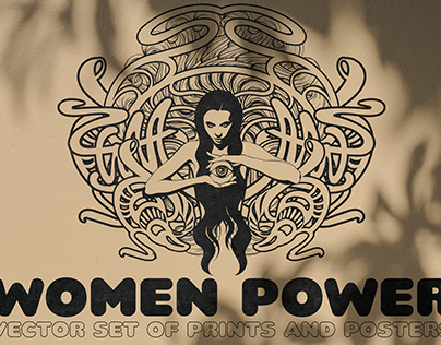 WOMEN POWER. Vector set of prints and posters