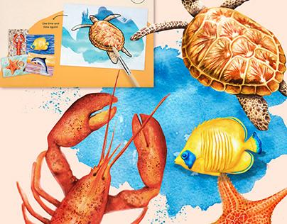 Vibrant ocean illustrations for dementia activities