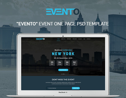 """""""EVENTO"""" Event One Page PSD Template"""