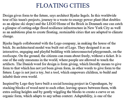 Article- Floating Cities