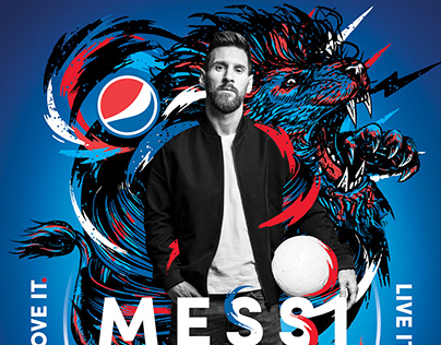PEPSI + MESSI + DIYE Illustracion for Pepsi Campaign