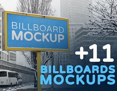 Billboards Mockups in Winter