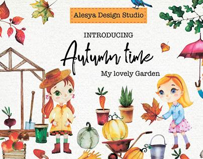 Autumn time. My lovely garden. Watercolor illustration