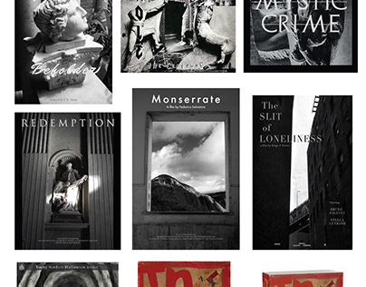 Examples of poster, book, and record cover design