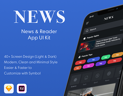 News & Reader Mobile App UI Kit - XD & SKETCH