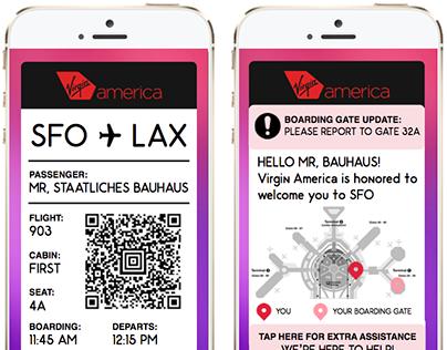 Virgin America App UI Mockup