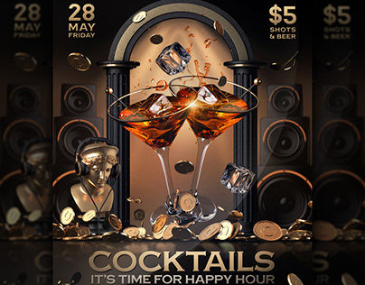 Happy Hour Cocktails Poster