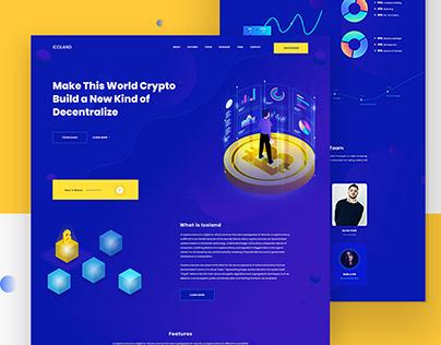 Icoland landing page | Cryptocurrency Explore