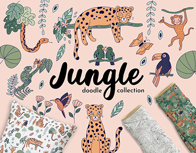 Jungle Animals doodle collection