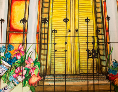 New Orleans Pen and Watercolor Painting