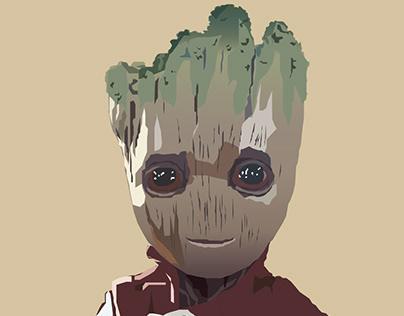 Baby Groot   Vector Drawing