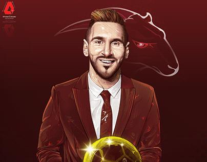 Messi ballon d'or Vector Art