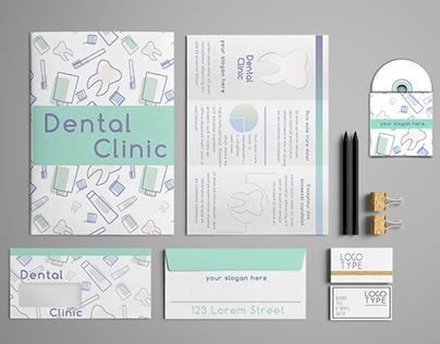 Dental Clinic corporate identity template design set