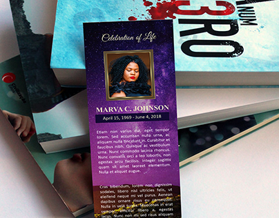 Vineyard Funeral Bookmark Word Publisher Template | 2.5