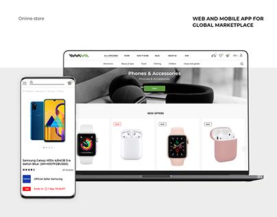 An online marketplace: UI/UX design / development / App