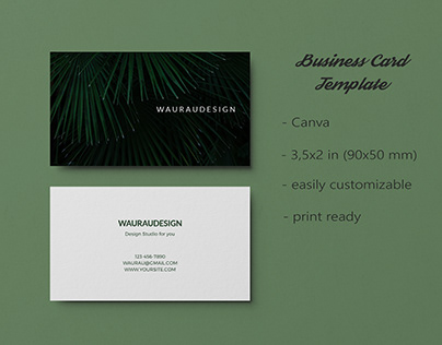 Dark Bussiness Card Tropical Plant Canva Minimalism