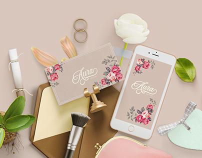 """Aura"" nail studio logotype and style design"