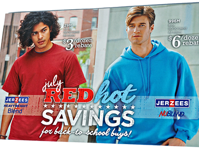 Jerzees - July Red Hot Savings promotional postcard