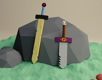 Adventure Time Swords 3D