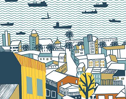 Illustration of Valparaiso & mural painting