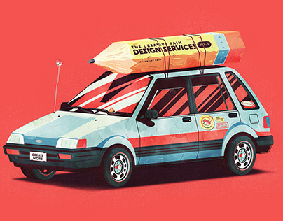 Adobe Live - Squatty car Illustration