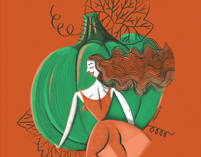 Illustration Pumpkin Lady