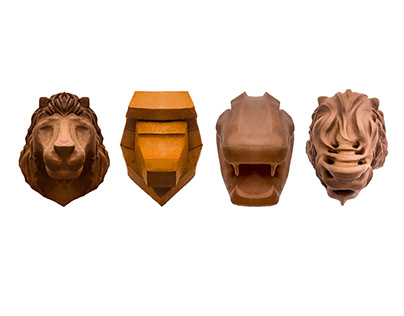 Lion Clay 3D Form