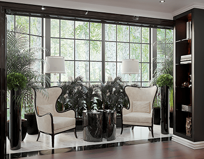 Visualization of the living room with a winter garden.