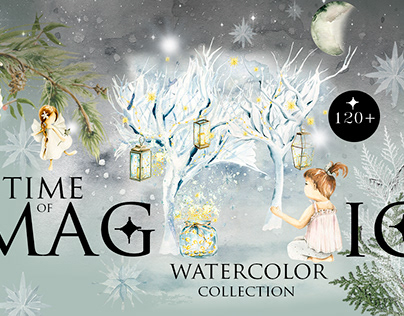 Time of magic. Watercolor clipart