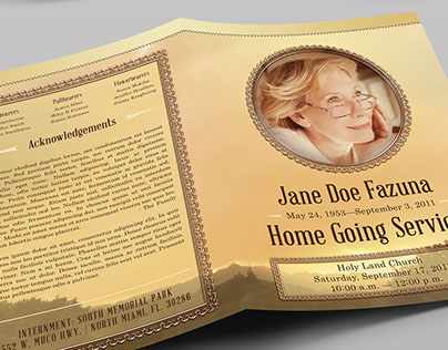 Vintage Funeral Program Booklet Template