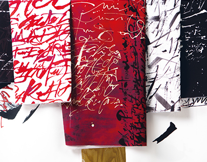 Expressive calligraphy on textil
