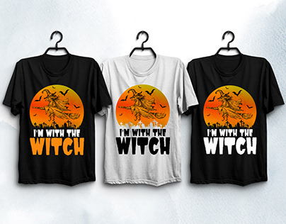 I'M With The Witch Halloween T-Shirt Design