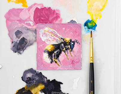 Bumblebee gouache miniature painting
