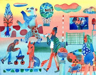 "Illustrations for a ""Letter from Berlin"" newsletter"