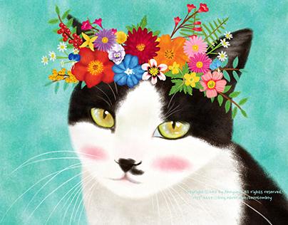 A cat wearing a flower crown_1
