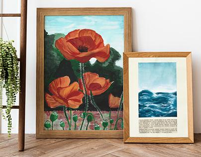 Poppy flowers & waves gouache illustration
