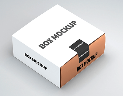 Free Mockup Gold Box with white Cover. 3d rendering