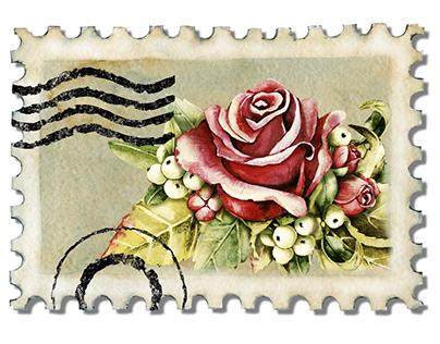 Почтовые марки, штамп, конверт, розы, цветы. Акварель