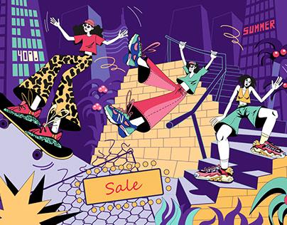 Illustration for sport shoe shop