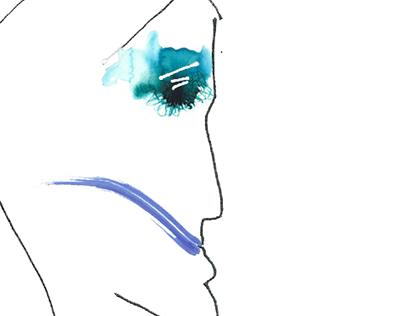 Portrait, type, line and splotch