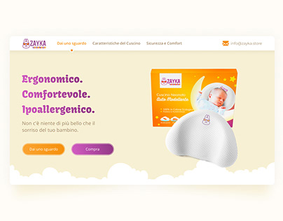 Landing page for sale baby pillows