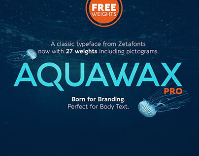 Aquawax Pro: type family with free icons