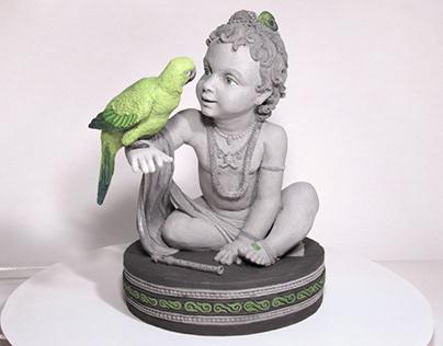 Krishna and a parrot (Кришна и попугай)