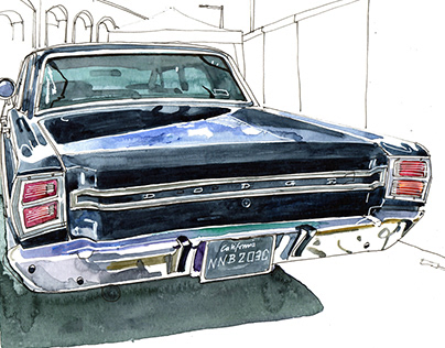 Reportage drawings from the 'Classic Car Boot Sale'