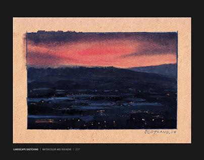 Gouache landscape sketches