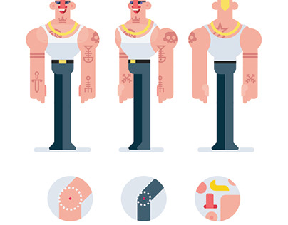 Flat Design 3 Sides Characters, Bodybuilder With Tattoo