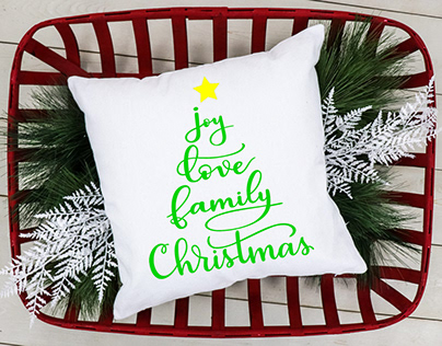 Handlettered Christmas Word Tree