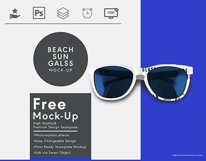Top view beach sun glass free mock up