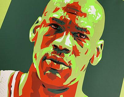 Michael Jordan Screen Printed Illustration